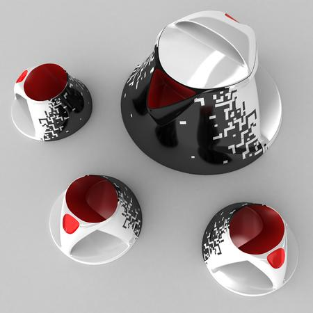 Tea and coffee service with drawing of art graphics. Design project is an art object. 3D illustration. Stock Photo