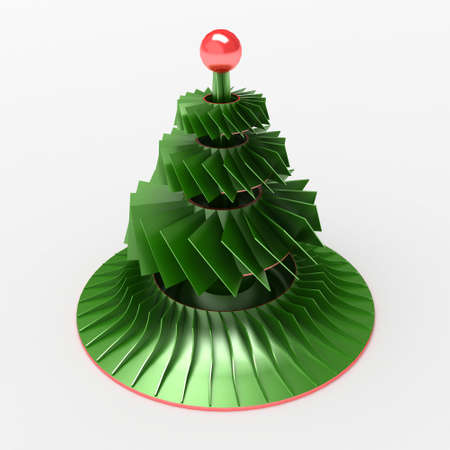 Abstract Christmas tree toy. Art object. 3D illustration Stock Photo