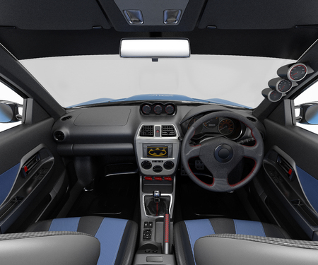 Salon of a sports car. Class sedan. Interior visualization 3d illustration.