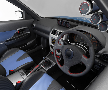 Salon of a sports car. Class sedan. Interior visualization 3d illustration.