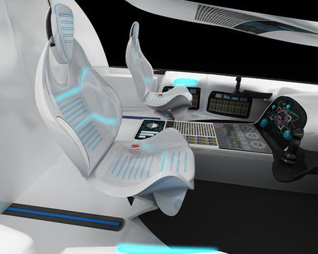 Futuristic interior design of the pilot cabin supersonic aircraft business class. 3D illustration.