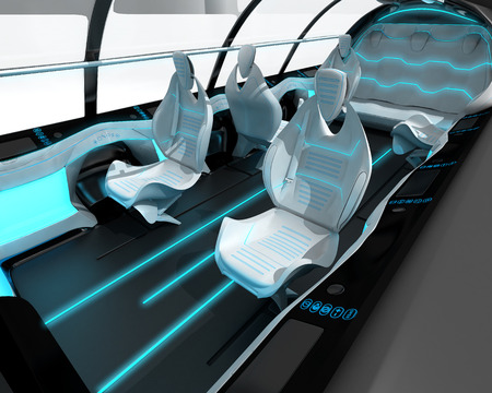 Futuristic interior design of the passenger zone of a supersonic business class aircraft. 3D illustration.