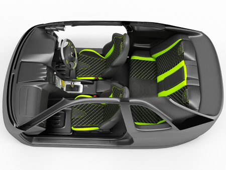 Exclusive tuning project for the interior of a sports car. Interior design with the layout of the main elements of the machine. 3D illustration.