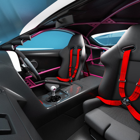 The interior of the car for racing. Executed elements and safety nodes of the pilot of a speedy balid. 3D illustration. Reklamní fotografie