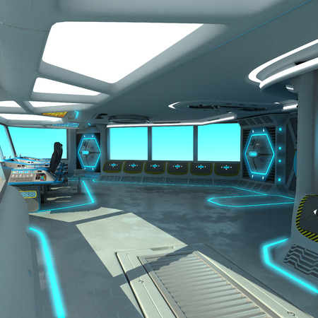 A futuristic ship-cutting project. Command bridge of a spacecraft. Control panel and pallet management units. 3D illustration.