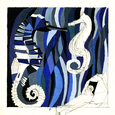 Illustration of an abstract composition of an animal water world. Hand-drawn drawing by hand.