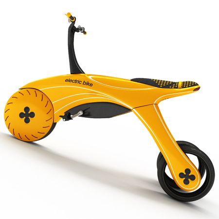 A sports tricycle with an electric motor.Futuristic design project. 3D illustration.