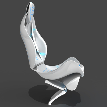 Multi-purpose transport seat with the possibility of transformation for functional use. 3D illustration.