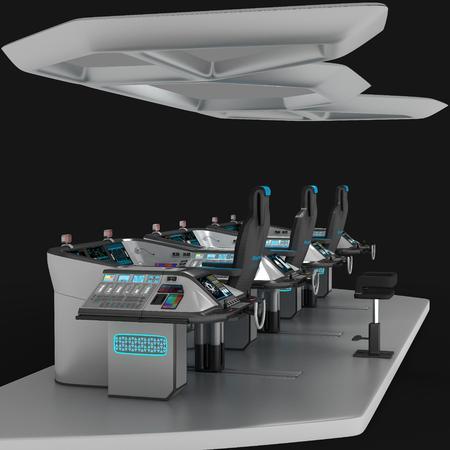 Ship modular equipment. Multipurpose control panel large-sized vessels. The foundation of the captains bridge. 3D illustration.