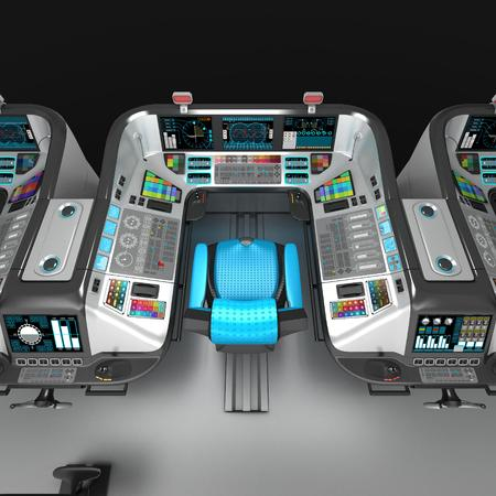 Ship modular equipment. Multipurpose control panel large-sized vessels. The foundation of the captains bridge. 3D illustration.