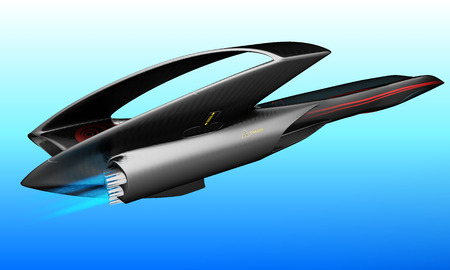 A futuristic project of a supersonic passenger business jet is designed for intercontinental flights. 3D illustration. Reklamní fotografie