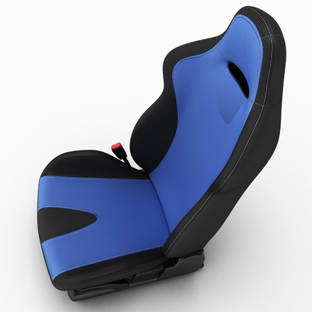 Automobile sports seat with fastening elements and seat belts. 3D illustration.