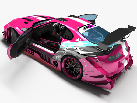 A sports car for racing races with graphics elements. Detailed study of all the main parts of the machine. 3D illustration.