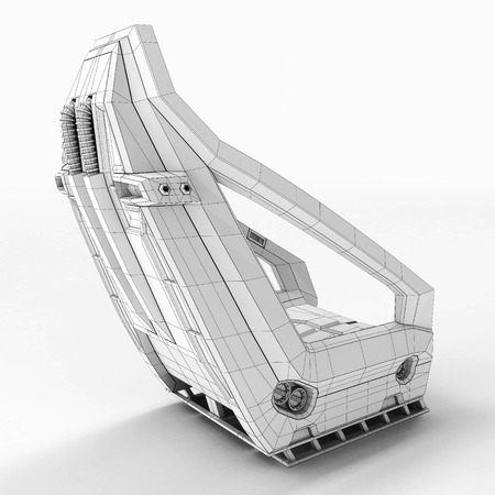 Futur design of an aerospace chair for special purposes. 3D illustration.