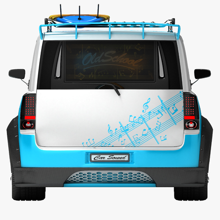 Youth car for outdoor activities. Completed in the style of the old school. The machine for surfers. 3d illustration