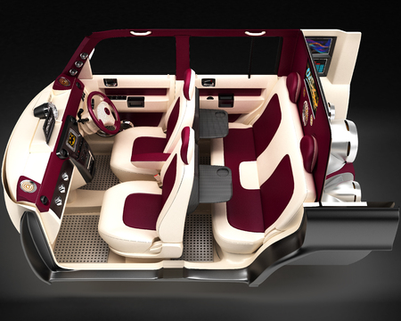 Exclusive tuning project car demo with the installation of an acoustic music system. Interior design with the layout of the main elements of the machine. 3D illustration.