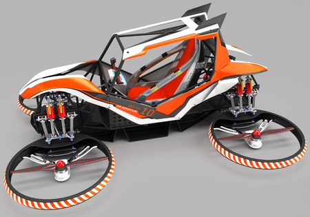 Compact single-seater quadrocopter for private use. Small urban vehicle with an electric motor. 3D illustration.