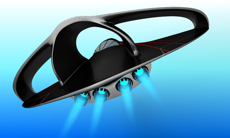 A futuristic project of a supersonic passenger business jet is designed for intercontinental flights. 3D illustration. Stock Photo