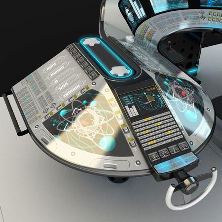 Expédier des équipements modulaires. Panneau de commande polyvalent pour navires de grande taille. La fondation du pont des capitaines. Illustration 3D.