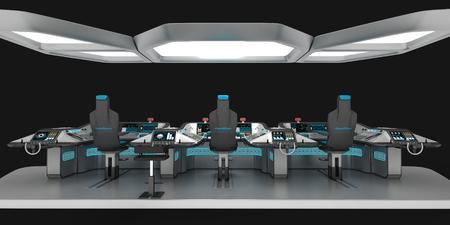 Expédier des équipements modulaires. Panneau de commande polyvalent pour grands navires. La fondation du pont des capitaines. Illustration 3D.