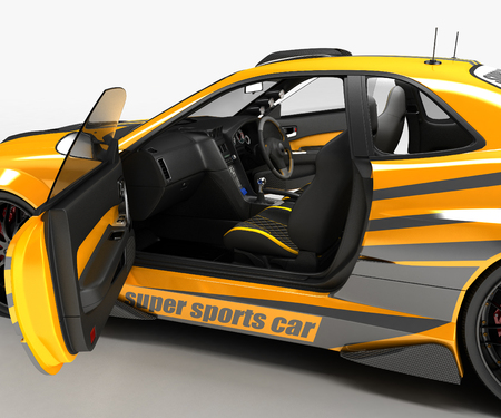 The sports car is a sedan coupe in exclusive racing performance and with an aerodynamic body kit. It is intended for ring competitions. 3D illustration.