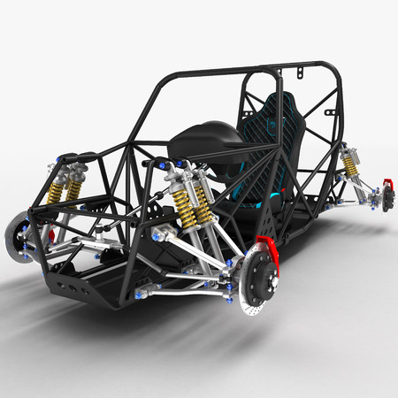 The frame frame of the sports car is a buggy with the basic design elements of the suspension and the pilots seat. 3D illustration.