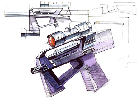 Picture of an exclusive automatic weapon submachine gun for melee. Illustration drawn by hand on paper with watercolors and pen. Reklamní fotografie - 107990248
