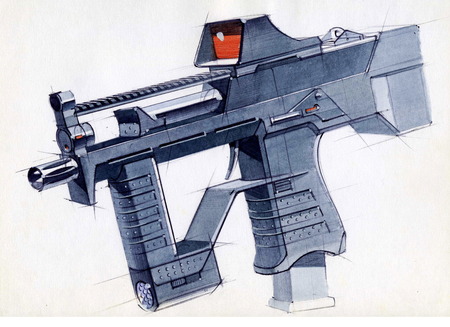 Picture of an exclusive automatic weapon submachine gun for melee. Illustration drawn by hand on paper with watercolors and pen. Reklamní fotografie - 107990249
