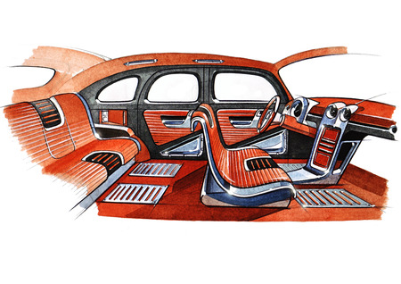 Illustration of a retro car interior design project. The exclusive drawing is executed by hand on paper with watercolor paints. Reklamní fotografie - 107990250
