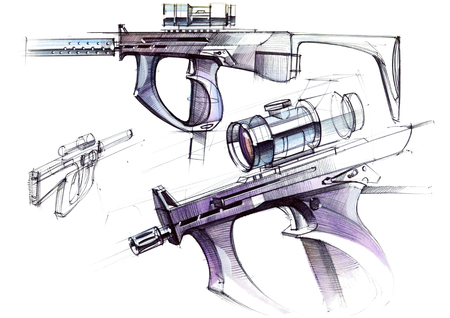 Picture of an exclusive automatic weapon submachine gun for melee. Illustration drawn by hand on paper with watercolors and pen. Reklamní fotografie - 107990253