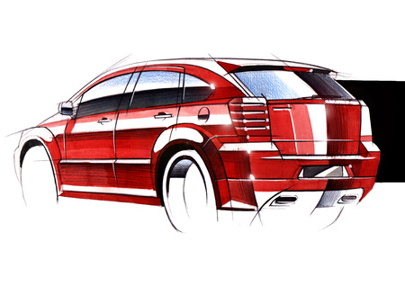 Illustration of a sketch car on a white background. The drawing is made by hand on paper using watercolors and a pen. Reklamní fotografie - 107990255