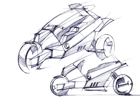 Illustration of the development of a motorcycle project for a city on electric motors. The sketch is drawn on paper by hand. Reklamní fotografie - 107990256