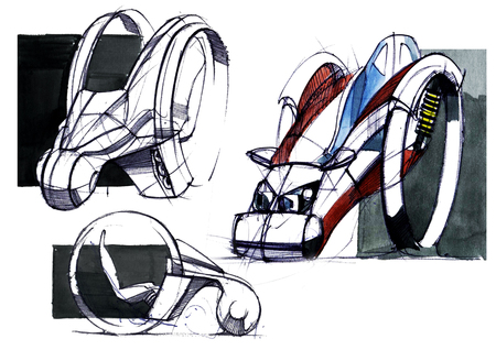 Sketch design is an exclusive compact electric car project for the city. Illustration executed by hand on paper with watercolor and pen. Reklamní fotografie - 107990262