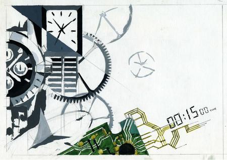 Zeichenplakat zum Thema mechanische Armbanduhren. Die Illustration wird von Hand mit Farben und einem Bleistift gemacht.