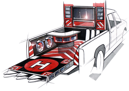 A design illustration of a project of an exclusive tuned car pickup for music festivals. Examination of the interior space of the body by acoustic systems. Drawing executed by hand on paper, watercolor pen. Reklamní fotografie - 107990264