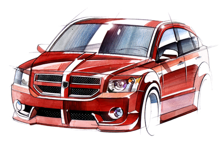 Illustration of a sketch car on a white background. The drawing is made by hand on paper using watercolors and a pen. Reklamní fotografie - 107990267