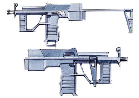 Picture of an exclusive automatic weapon submachine gun for melee. Illustration drawn by hand on paper with watercolors and pen. Foto de archivo - 107992789