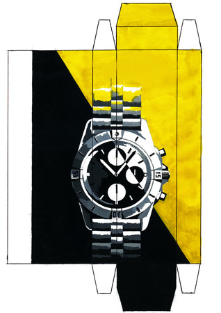 Drawing poster on the theme of mechanical wristwatches. The illustration is made by hand using colors and a pencil.