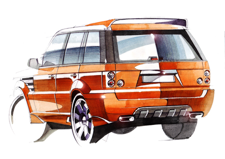 A sketch of a steep SUV pickup for outdoor activities. Illustration drawn by hand on paper with watercolors and pen.