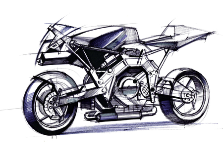 Illustration of the development of a motorcycle project for a city on electric motors. The sketch is drawn on paper by hand.