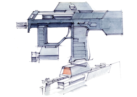 Picture of an exclusive automatic weapon submachine gun for melee. Illustration drawn by hand on paper with watercolors and pen. Reklamní fotografie - 107992762