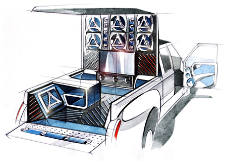 A design illustration of a project of an exclusive tuned car pickup for music festivals. Examination of the interior space of the body by acoustic systems. Drawing executed by hand on paper, watercolor pen.