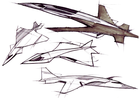 Sketch concept supersonic aircraft business class intercontinental flights. Illustration executed by hand on paper watercolor pen.