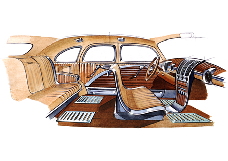Illustration of a retro car interior design project. The exclusive drawing is executed by hand on paper with watercolor paints.