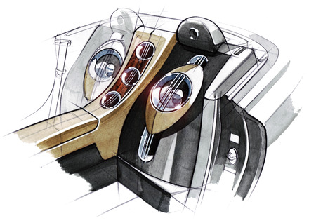Drawing of the exclusive interior design of the car with the elaboration of all the elements of the modern passenger compartment of the vehicle. Illustration is made by hand using watercolors, paper and pens. Reklamní fotografie - 107992770