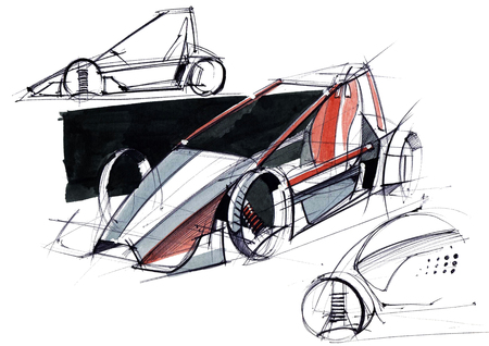 Sketch design is an exclusive compact electric car project for the city. Illustration executed by hand on paper with watercolor and pen. Reklamní fotografie - 107992701