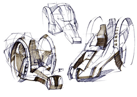 Sketch design is an exclusive compact electric car project for the city. Illustration executed by hand on paper with watercolor and pen. Reklamní fotografie - 107992706