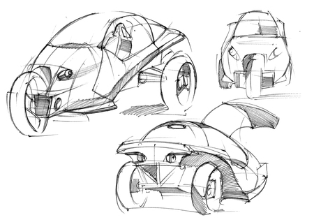 Sketch design is an exclusive compact electric car project for the city. Illustration executed by hand on paper with watercolor and pen. Reklamní fotografie - 107992708