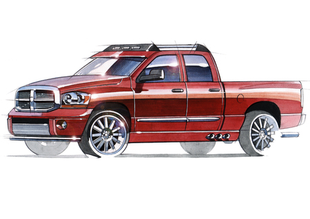 A sketch of a steep SUV pickup for outdoor activities. Illustration drawn by hand on paper with watercolors and pen. Reklamní fotografie - 107992645