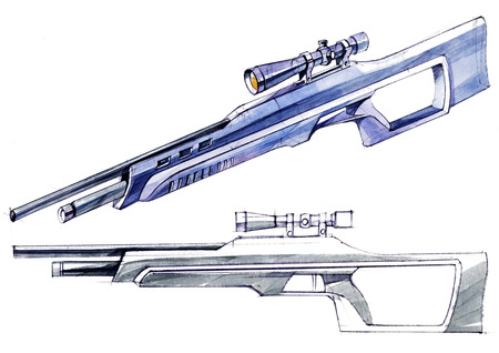 Sketch design is a project of a modern versatile lightweight rifle. The illustration is drawn on paper using watercolor paints and pens. Reklamní fotografie - 107992649
